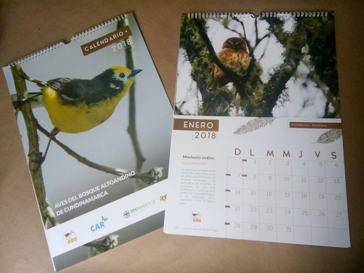 Calendario 2018 aves del bosque altoandino de Cundinamarca